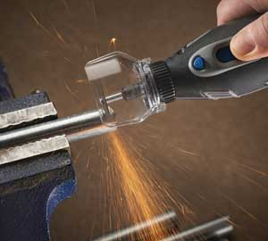 The rotary tool is perfect for cutting.